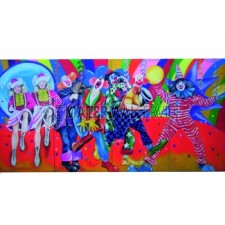 Decor carnaval afm. 5 x 2,5 mtr. incl. decorsteunen
