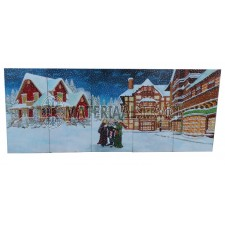 Kerstdecor in Charles Dickens decor afm. 6,25 x 2,5 mtr.