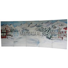 Decor Tiroler sneeuwlandschap / Kerstdecor met afm  6,25 mtr. x 2,5 mtr